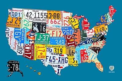 License Plate Map Of The Usa On Royal Blue Poster by Design Turnpike
