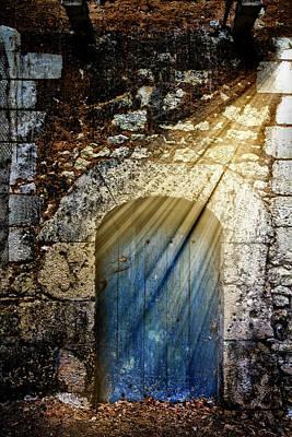 Light At The Blue Door Poster by Debra and Dave Vanderlaan