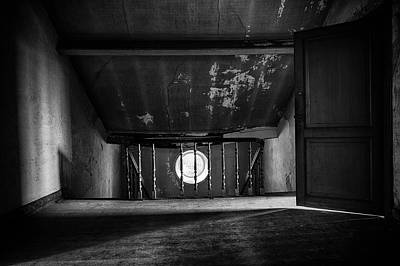Light On The Attic - Abandoned Building Bw Poster by Dirk Ercken