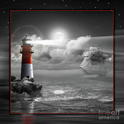Lighthouse And Sailboat Under Moonlight Poster by Monika Juengling