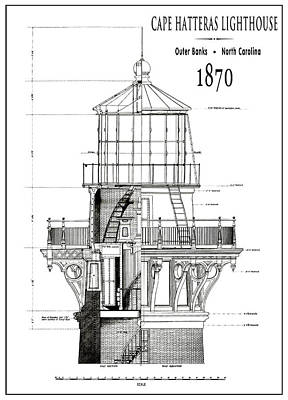 Lighthouse Cape Hatteras  1870 Poster by Daniel Hagerman