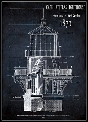 Lighthouse Cape Hatteras - North Carolina - 1870 Poster by Daniel Hagerman