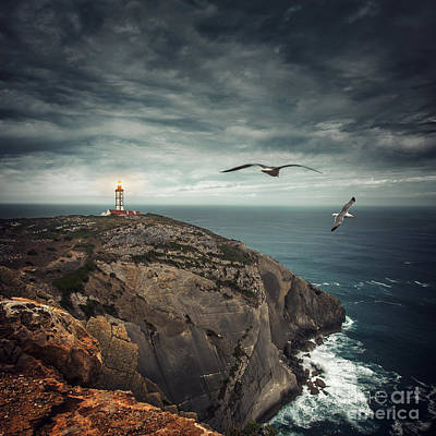 Lighthouse Cliff Poster by Carlos Caetano