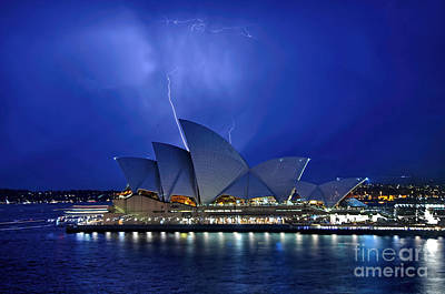 Lightning Above The Opera House Poster by Kaye Menner