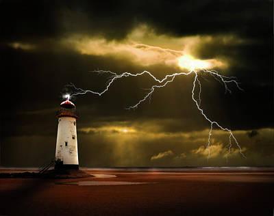 Lightning Storm Poster by Meirion Matthias