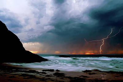 Lightning Strike Off Dana Point California Poster by Cliff Wassmann