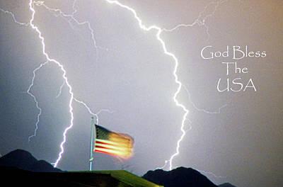 Lightning Strikes God Bless The Usa Poster by James BO  Insogna