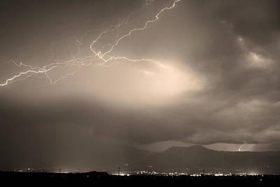 Lightning Strikes Over Boulder Colorado Sepia Poster by James BO  Insogna