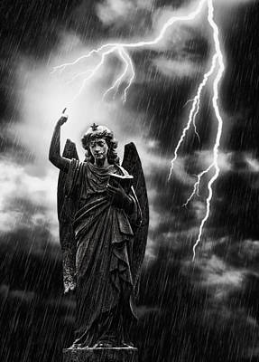 Lightning Strikes The Angel Gabriel Poster by Amanda And Christopher Elwell