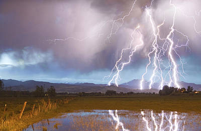 Lightning Striking Longs Peak Foothills 4 Poster by James BO  Insogna