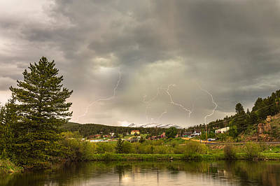 Lightning Striking Over Rollinsville Colorado Poster by James BO  Insogna