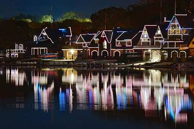 Lights Of Boathouse Row Poster by Frozen in Time Fine Art Photography