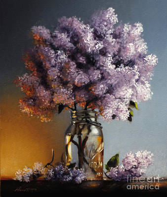 Lilacs In A Ball Jar Poster by Larry Preston