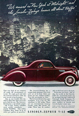 Lincoln Zephyr V12 1937 Poster by Georgia Fowler