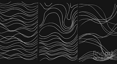 Lines 1-2-3 White On Black Poster by Helena Tiainen