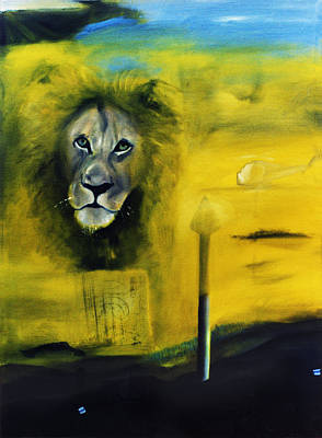 Lion At The Council Poster by Noga Ami-rav