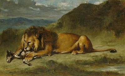 Lion Devouring A Goat Poster by Eugene Delacroix