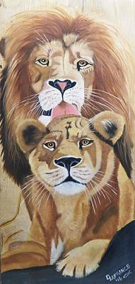 Lion Love Poster by Debbie LaFrance