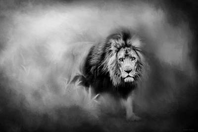 Lion - Pride Of Africa 3 - Tribute To Cecil In Black And White Poster by Michelle Wrighton