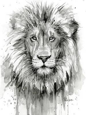 Lion Watercolor  Poster by Olga Shvartsur