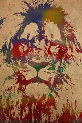 Lion Watercolor Portrait On Worn Canvas Poster by Design Turnpike
