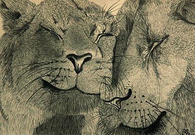 Lions In Love Poster by Ramneek Narang