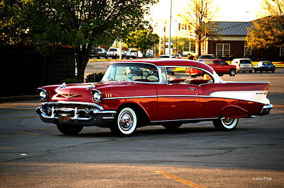 Lipstick Red Chevrolet Bel Air Poster by Lesa Fine