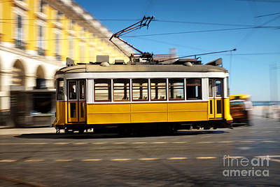 Lisbon Tram Panning Poster by Carlos Caetano