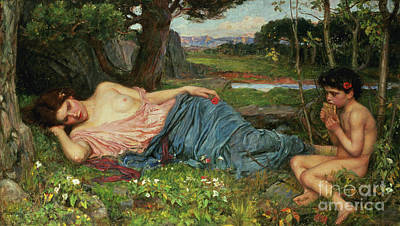 Listen To My Sweet Pipings Poster by John William Waterhouse