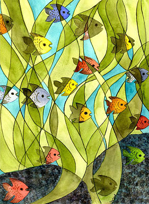 Little Fish Big Pond Poster by Catherine G McElroy