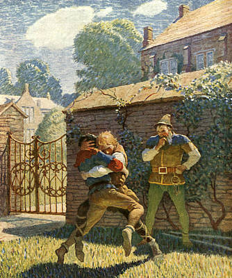 Little John Wrestles At Gamewell Poster by Newell Convers Wyeth