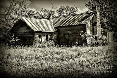 Little Red Farmhouse In Black And White Poster by Paul Ward