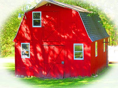 Little Red Riding Hoods Barn Cabin Poster by Tina M Wenger