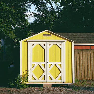 Little Yellow Barn- By Linda Woods Poster by Linda Woods
