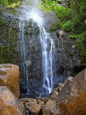 Living Waters - Wailua Falls Maui Poster by Glenn McCarthy Art and Photography
