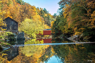 Mcconnell's Mill And Covered Bridge Poster by Skip Tribby