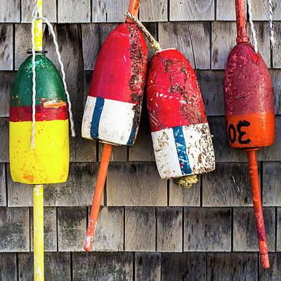 Lobster Buoys On Shingle Wall - Cape Neddick -  Maine Poster by Steven Ralser