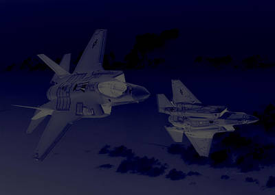 Lockheed Martin F 35 Lightening II Joint Strike Fighters During Night Military Exercises Poster by L Brown