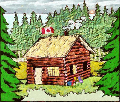 Log Cabin In The Canadian Woods Poster by Mario Carini