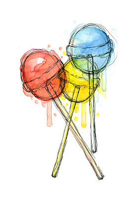 Lollipop Candy Watercolor Poster by Olga Shvartsur