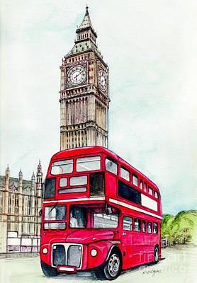 London Bus And Big Ben Poster by Morgan Fitzsimons