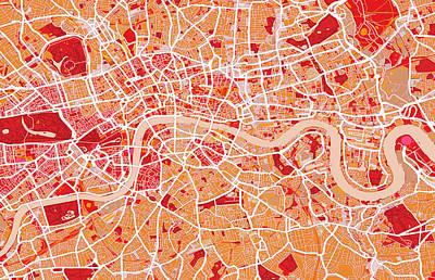 London Map Art Red Poster by Michael Tompsett