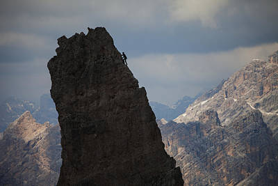 Lonely Climber, Cinque Torri, Dolomites, Italy Poster by Frank Peters