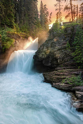 Heavenly Mist - St Mary Falls By Thomas Schoeller Poster by Thomas Schoeller