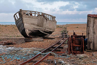 Long Forgotten -  Rusty Winch And Old Fishing Boat Poster by Gill Billington