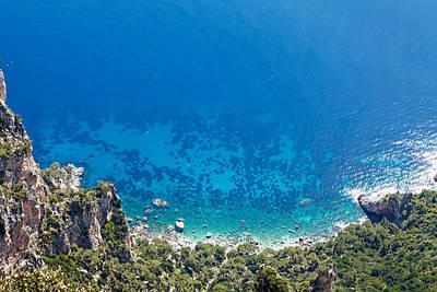 Looking Down Cliff Onto Mediterranean Sea Poster by Susan Schmitz