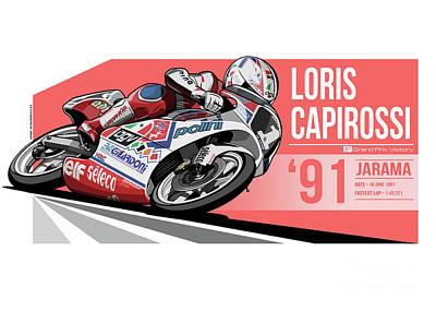 Loris Capirossi - 1991 Jarama Poster by Evan DeCiren