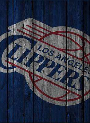 Los Angeles Clippers Wood Fence Poster by Joe Hamilton