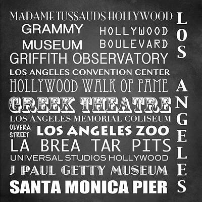 Los Angeles Famous Landmarks Poster by Patricia Lintner