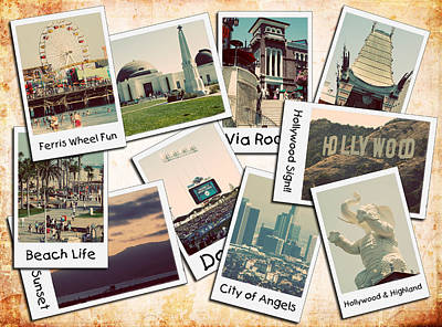 Los Angeles Polaroid Collage Poster by Ricky Barnard